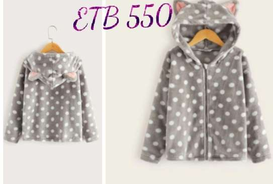 Girls Polka Dot Ear Hooded Teddy jacket