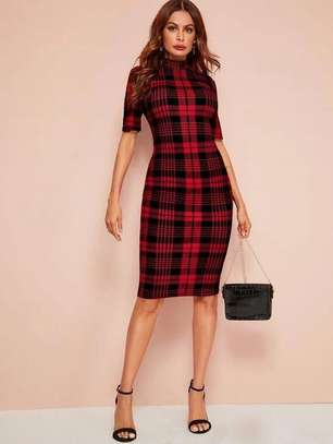 Mock Neck Tartan Bodycon Dress