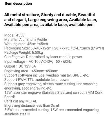 Laser Engraver CRONOS 45*45cm 5.5W/15W Machine image 2