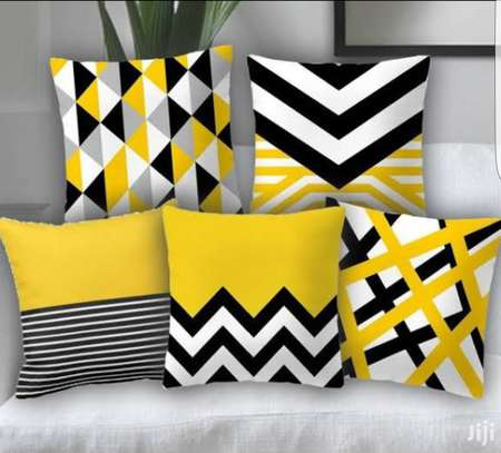 Yellow Geometry Cushion Cover 45x45 Pillow Decorative Cushions For Sofa Flowers Decoration Pillowcover image 1