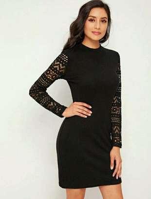 Black Long Sleeved Women Sheath Dress