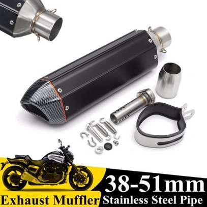 38-51mm Universal Motorcycle Carbonfiber Exhaust image 1