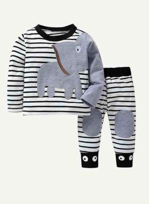 Tolddler Boys Elephant and Stripe Pattern Tee with Pants