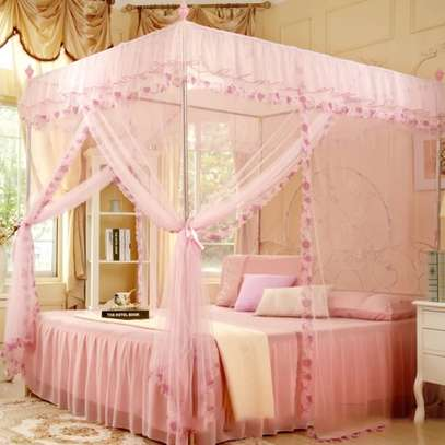 Full Set Bed Net and Frame Hanging Corner Post Romantic Mosquito Net Lace Princess Girl Canopy Bed Curtain Queen King image 1