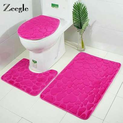 3 Pcs Non-Slip Bath Mat Set with Chain Pattern