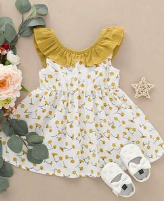 White And Yellow new Fashion Kids Dress With Shoes