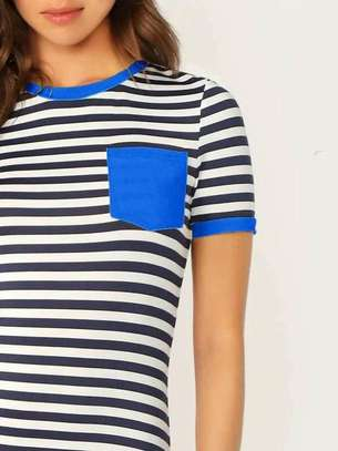 Striped Pocket Patch Bodycon Ringer Tee Dress