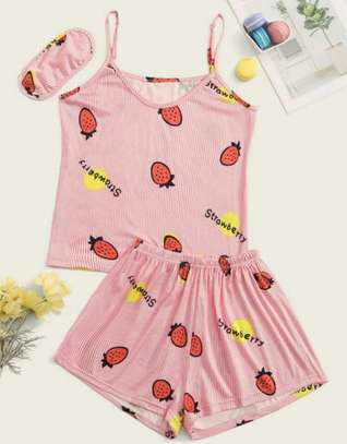 Strawberry Print Cami PJ Set With Eye Mask image 1