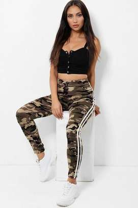 Highwaist Beige  Camouflage Print Cargo and White Twin Side Stripe Trousers image 1
