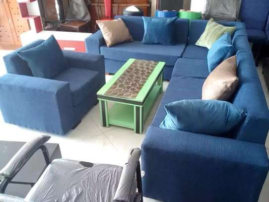 Blue L - Shape Sofa With Table
