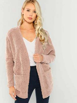 Patch Pocket Open-Front Teddy Coat