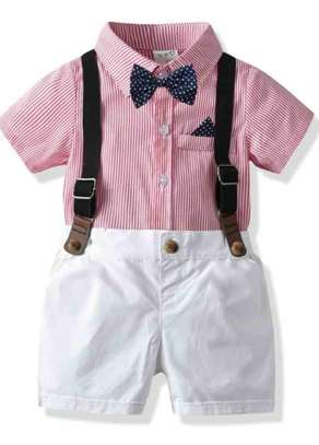 Toddler Boys Bow Neck Striped Shirt With Shorts image 1