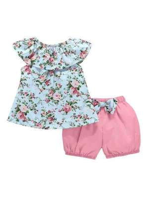 Toddler Girls Floral Print Blouse With Bow Shorts