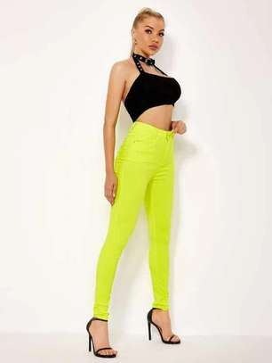 Yellow New Fashion Women Jeans Trouser