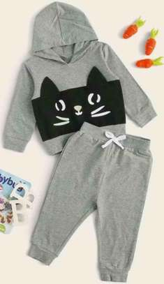 Baby Boy Contrast Panels Cartoon Graphic Hoodie with Joggers