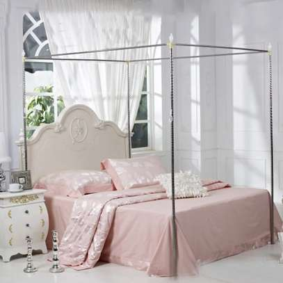 Full Set Bed Net and Frame Hanging Corner Post Romantic Mosquito Net Lace Princess Girl Canopy Bed Curtain Queen King image 5