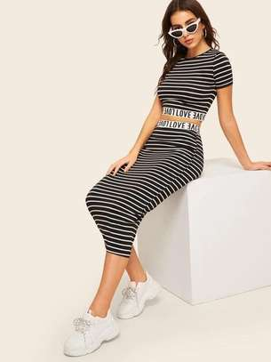 Letter Tape Striped Crop Top And Pencil Skirt Set