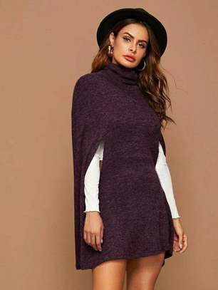 Brown Mock Neck Fashion Dress