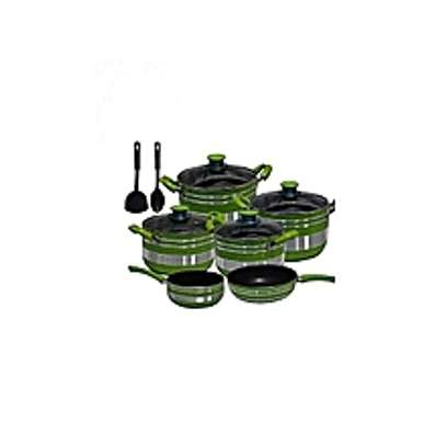 Non Stick Cooking Pot/sufurias- 12 Pieces - Green & Silver image 1