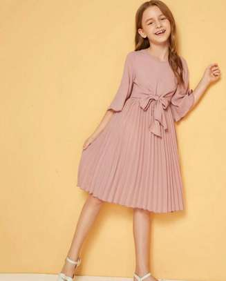 Knot Front Zip Bell Sleeve Solid Dress image 1