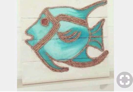 Blue Fish String Art
