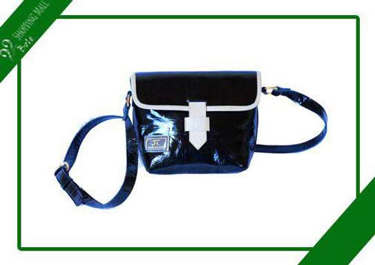 Women's Leather Black with White strips Side Bag image 1
