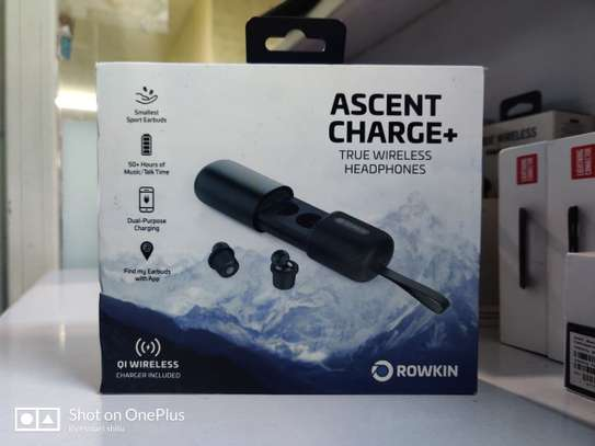 Rowkin Ascent Charge+ True Wireless Earbuds  -Bluetooth 5.0 Lag free Crystal clear sound -Studio Quality Sound with Deep Bass -Dynamic Sound with Deep Bass technology -3.5 hours playtime per charge -50+ additional hours with charging case -Qi Charger included -Touch controls -Earbud locator & EQ customizations with App( find my earbuds app) image 1