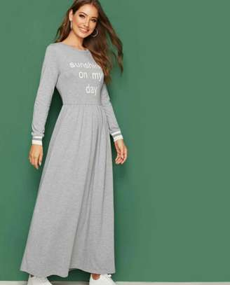 Hearthered Grey Slogan Graphic Flare Dress image 2