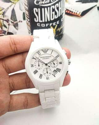 White Ceramic Emporio Armani Men's Watch