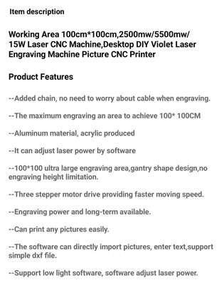 CRONOS 100*100cm 15W/30W/40W Laser Engraving/Cutting Machine image 2
