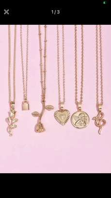 6 Pcs Lock & Heart Charm Necklace image 2