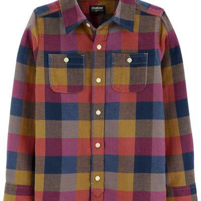 Plaid Woven Button Front Shirt image 1