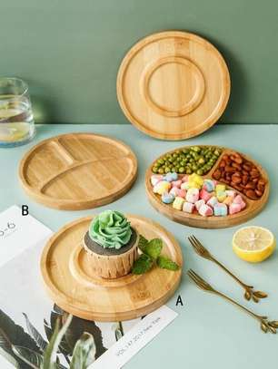 1 Pcs Round Wooden Plate
