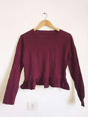 Long sleeved burgundy sweater
