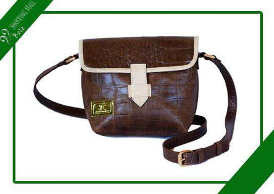 Women's Leather Brown with White strips Side Bag image 1