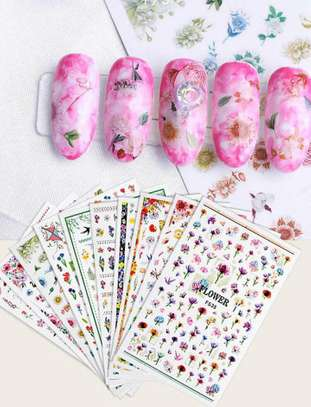 3D Flower Pattern Nail Sticker 5 Sheets