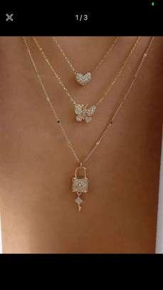 Rhinestone Heart Layered Necklace image 2