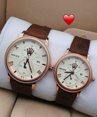 Rolex Leather Belt Couple Watch image 1
