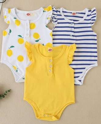 Baby Girl 3 Pcs Fruit and Striped  Print Body Suit
