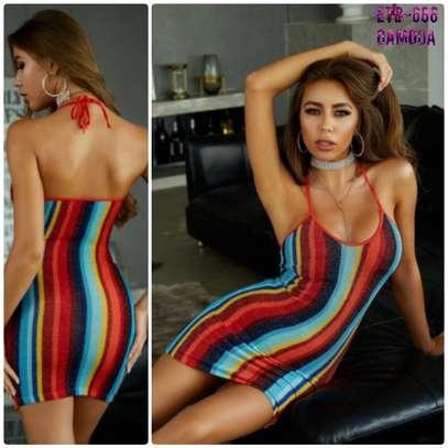Tie Back Rainbow Stripe Glitter Bodycon Dress