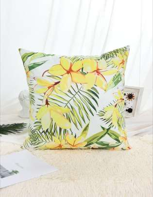 Flower & Leaf Print Cushion Cove