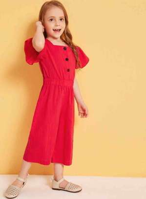 Toddler Girls Square Neck Button Front Jumpsuit