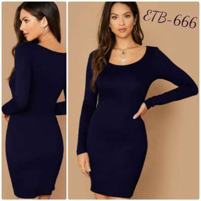 Scoop Neck Solid Bodycon Dress image 1