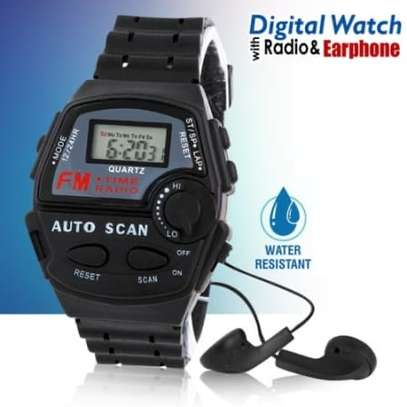 FM Auto Scan Radio Watch with Stereo Earphone image 1