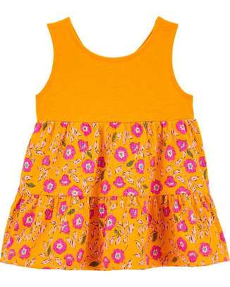 Jersey Crinkled Tank (Yellow Floral) image 1