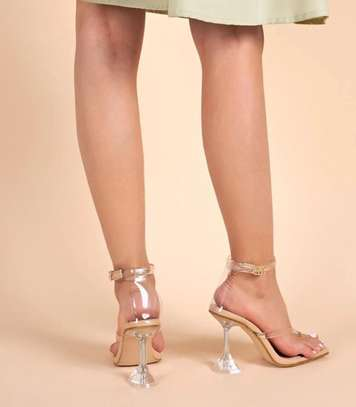 Toe Post Clear Ankle Strap Heeled Sandals