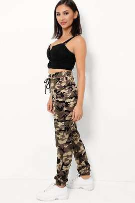 Highwaist Beige  Camouflage Print Cargo and White Twin Side Stripe Trousers image 4