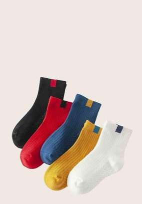 5pairs Toddler Kids Two Tone Pattern Socks