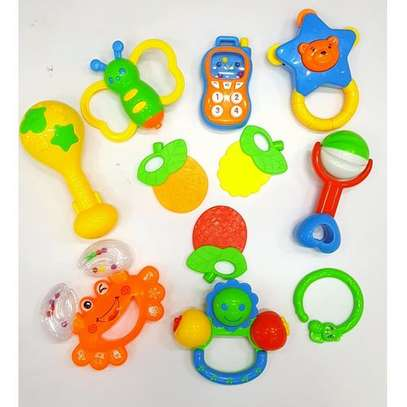 10pcs Baby hand Shakers rattles and teether set image 1