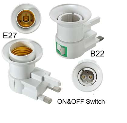UK Plug E27 or B22 Lamp Socket Holder Adapter Converter 110-240V With ONOFF Switch